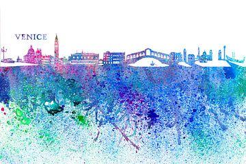 Venedig Italien Skyline Silhouette Impressionistischer Splash von Markus Bleichner