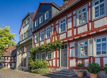 Vakwerkhuizen aan de Schlossplatz van Frankfurt-Höchst van Christian Müringer