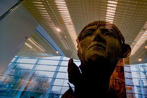 Romeinse bronzen portretkop in het Valkhof museum in Nijmegen