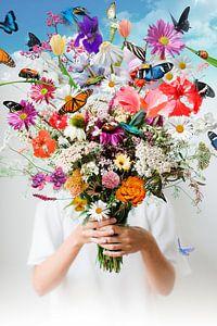 Lente bloemen, vlinders en kolibries van