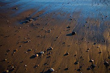 Sable doré, consacré par le soleil couchant, par la mer, mouillé par le reflux de la vague. Empreint sur Michael Semenov