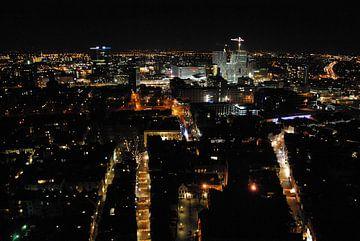 Uitzicht vanaf de Domtoren in Utrecht, richting het nieuw stadskantoor in aanbouw. van