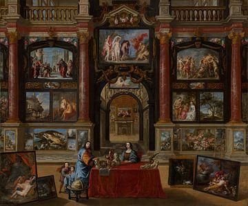 Gemälde, Interieur mit Figuren in der Mitte einer Gemäldesammlung von Atelier Liesjes