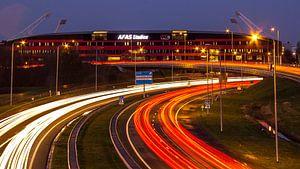 Het stadion van AZ aan het einde van de A9 van