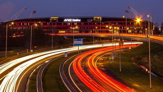 Het stadion van AZ aan het einde van de A9