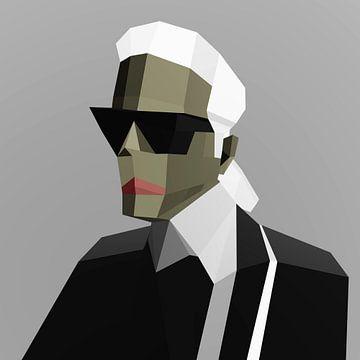 Karl Lagerfeld (2019) van Pat Bloom - Moderne 3d en abstracte kubistiche kunst