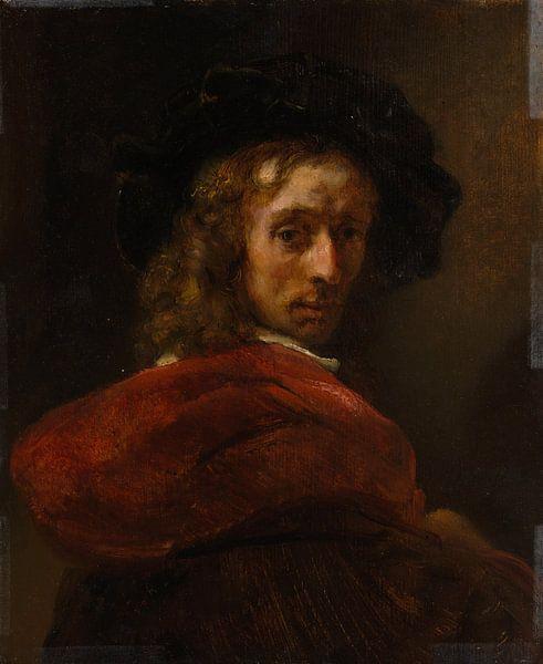 Man in een rode mantel, de stijl van Rembrandt van Rembrandt van Rijn