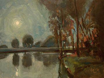 Schlosspark bei Mondschein von Nop Briex