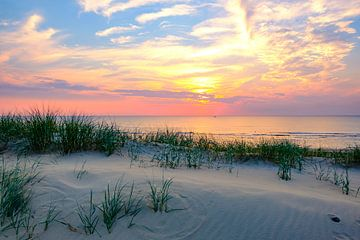 Sonnenuntergang in den Dünen am Nordseestrand in Nordholland von Sjoerd van der Wal