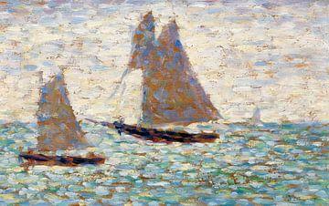 Deux voiliers à Grandcamp, Georges Seurat, vers 1885 sur Atelier Liesjes