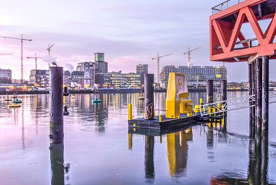 Rheinhafen am Morgen in Januar