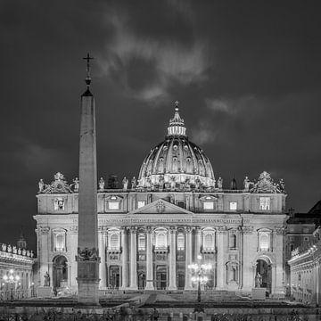Italië in vierkant zwart wit, Rome - Vaticaan - Sint Pietersbasiliek