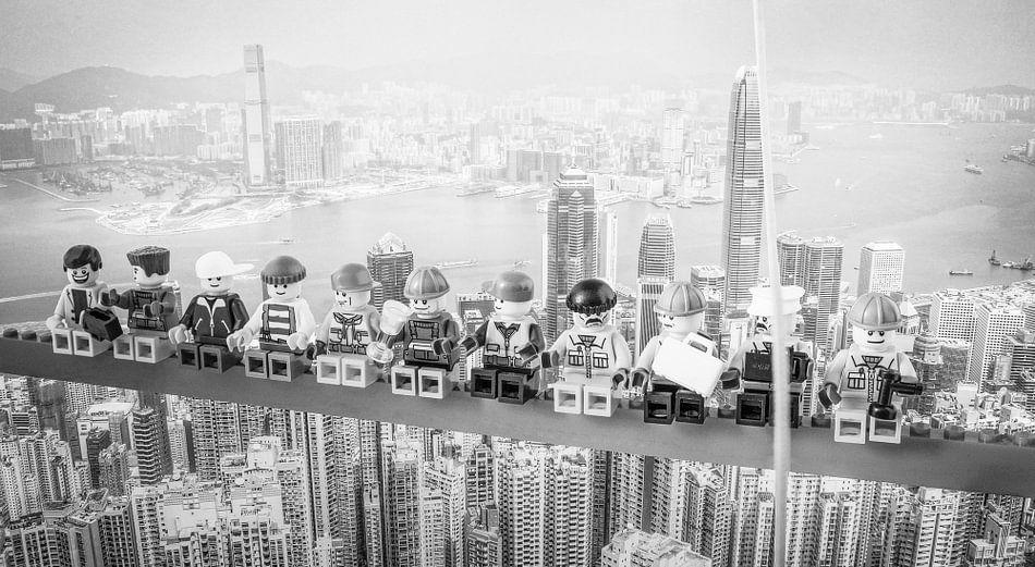 Lunch atop a skyscraper Lego edition van Marco van den Arend