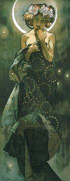 Der Mond und die Sterne - Jugendstil - Alfons Mucha von