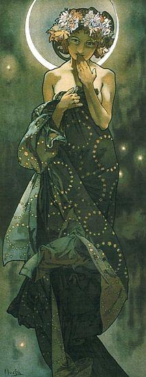 De Maan en de Sterren: De Maan - Art Nouveau Schilderij Mucha Jugendstil