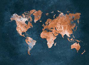 wereldkaart blauw bruin #kaart #wereldkaart van JBJart Justyna Jaszke