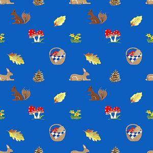 bos elementen op blauw achtergrond van Ivonne Wierink