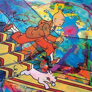 Tintin und Bobbie von der Treppe