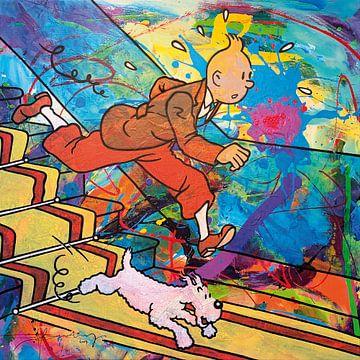 Kuifje en Bobbie van de trap van Frans Mandigers