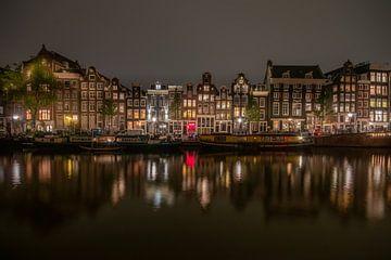 réflexions nocturnes sur le Singel, Amsterdam sur Aldo Sanso