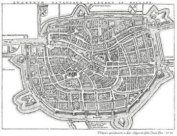 Historische plattegrond Leiden 1612-1648 van Margot van Veelen