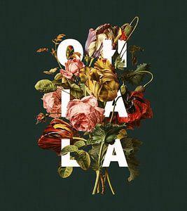 Botanische prent met typografie 'Oh La La' van Studio POPPY