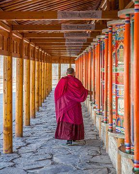 De gebedsmolens van het Labrang Klooster, China van Frank Verburg