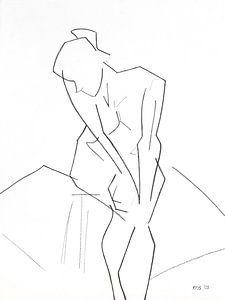 Vrouwelijk naakt zittend van