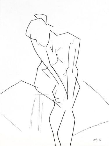 Vrouwelijk naakt zittend van Kris Stuurop