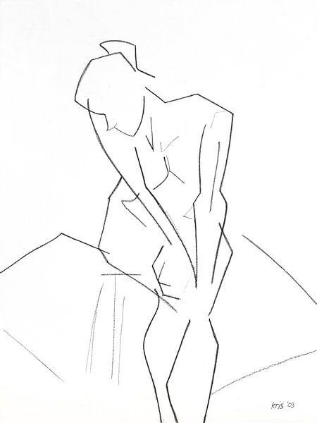 Vrouwelijk naakt zittend