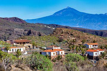 Huisjes op La Gomera met zicht op El Teide