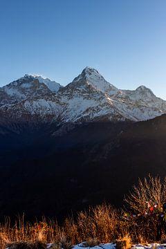Verschneite Berge im Himalaja am Morgen von Mickéle Godderis