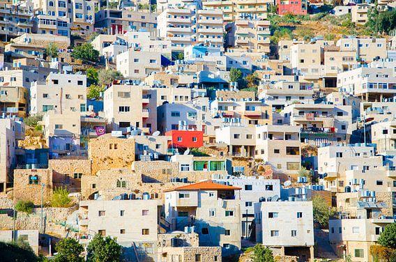 Huizen op bergwand Bethlehem, Palestina
