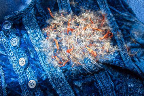 Blauw fluweel met bloempluis