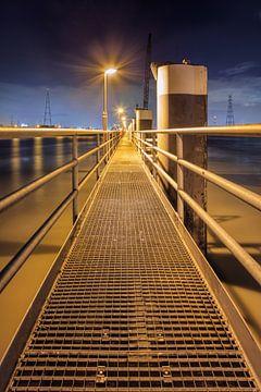 Verlichte pier op grote metalen meerpalen van Tony Vingerhoets