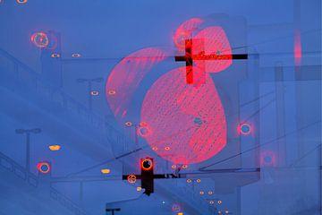Verkeerslichten op rood bij schemering, Bremen, Duitsland, Europa I Rood Verkeerslicht bij schemerin van Torsten Krüger