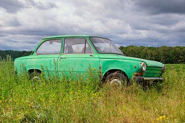 Groene Daf personenauto in een Zomers weideveld van Evert Jan Luchies