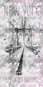 Grafische Kunst in de STAD NEW YORK Brooklyn Bridge