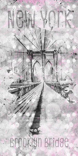 Grafische Kunst in de STAD NEW YORK Brooklyn Bridge van Melanie Viola