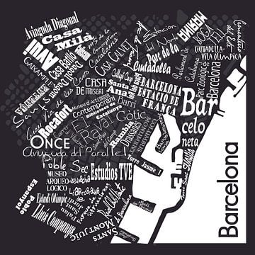 Barcelona in woorden zwart wit, typografisch diaposit sur Muurbabbels Typographic Design