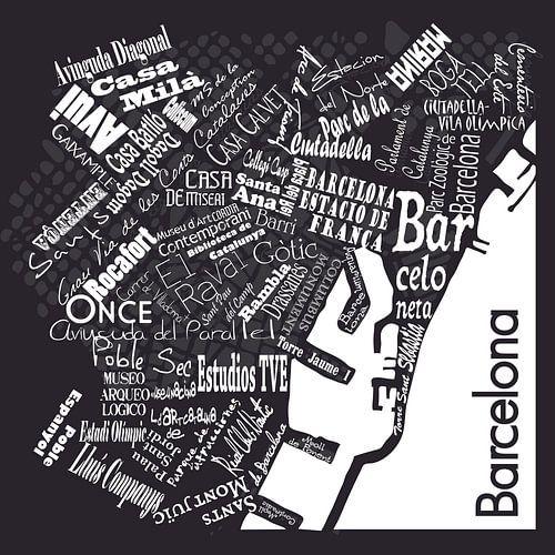 Barcelona in woorden zwart wit, typografisch diaposit van