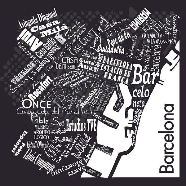 Barcelona in woorden zwart wit, typografisch diaposit van Muurbabbels Typographic Design