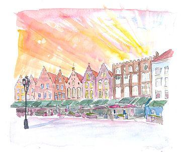 Brügge Belgien Historischer Marktplatz bei Sonnenaufgang von Markus Bleichner