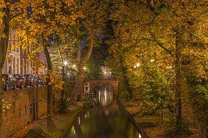 Nieuwegracht in Utrecht in de avond, herfst 2016 - 2