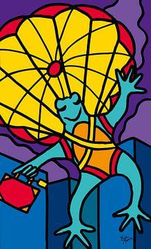 Frosch mit Fallschirm von ART Eva Maria