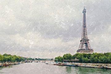 Parijs, met de Eiffeltoren aan de Seine van Art by Jeronimo