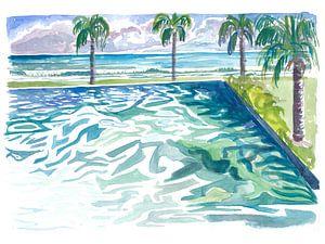 Infinity-Pool mit tropischem Meerblick und Wellengang von Markus Bleichner