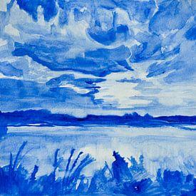 Landschap Aquarel Delfts blauw van Henriëtte Mosselman