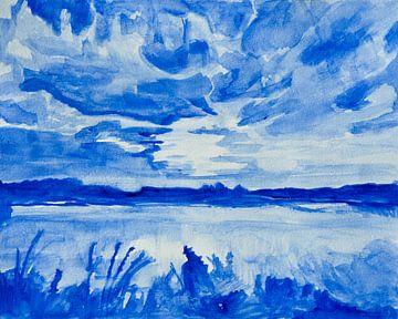 Paysage Aquarelle Bleu De Delft sur Henriëtte Mosselman