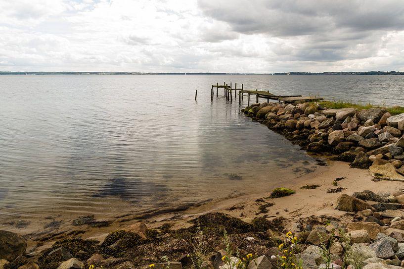 Oude vervallen steiger aan het strand sur Tony Buijse